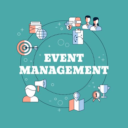 Event management concept with icons. Vector illustration.