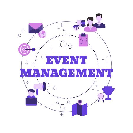 Event management concept with icons. Vector illustration. Reklamní fotografie - 133827940