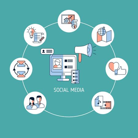 Social media connection concept with icons. Vector illustration.