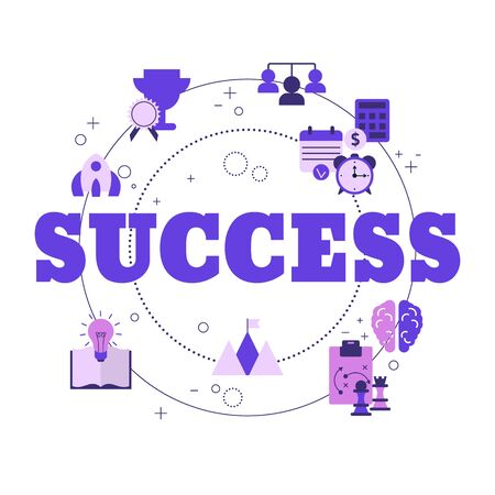 Concept of business success with icons. Vector illustration.