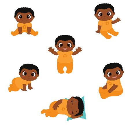 Set of cute African American baby boys. Baby shower vector illustration.