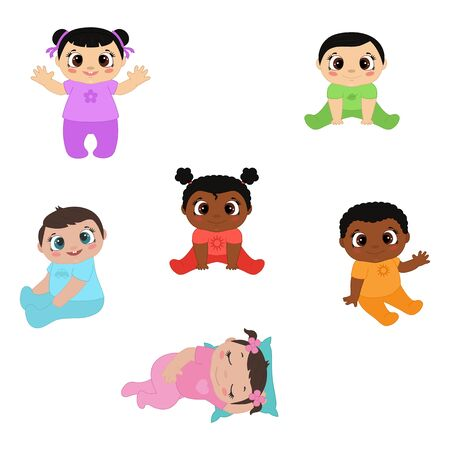 Vector illustration of happy cute little kids. Toddler, newborn adorable sitting and play babies.