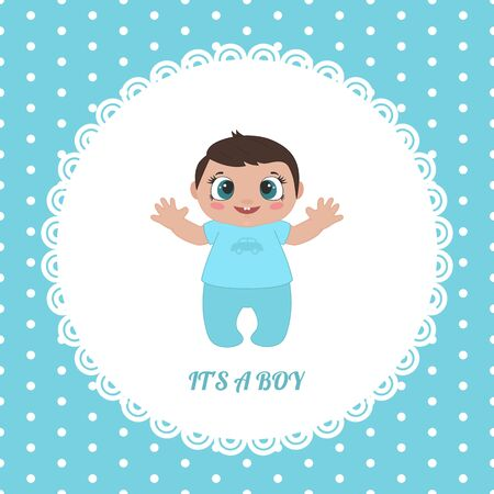 Cute invitation card for baby shower with little boy. Vector illustration.