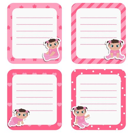 Set of cute cards with little baby girl. Vector design templates for greeting gift cards, flyers, posters etc. Ilustrace