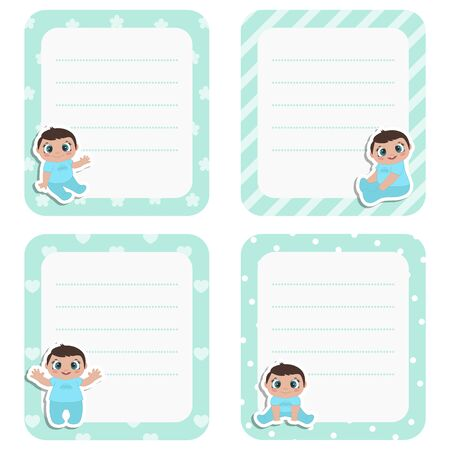 Set of cute cards with little baby boy. Vector design templates for greeting gift cards, flyers, posters etc.