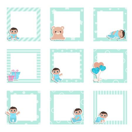 Set of cute colorful photo frame with little baby boy. Vector design templates for greeting gift cards, flyers, posters etc. 版權商用圖片 - 132706963