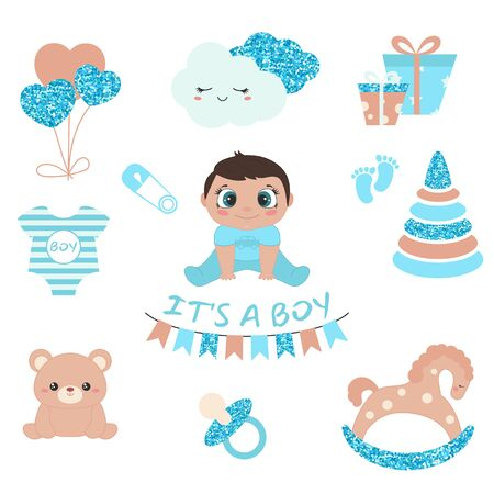 Baby boy shower design icons. Vector design templates with blue glitters for greeting gift cards, flyers, posters etc. 版權商用圖片 - 132723038
