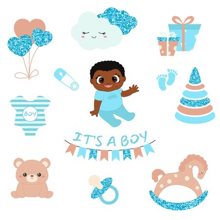 Baby boy shower design icons. Vector design templates with blue glitters for greeting gift cards, flyers, posters etc. 版權商用圖片 - 132723074