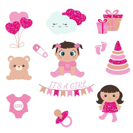 Baby girl shower design icons. Vector design templates with pink glitters for greeting gift cards, flyers, posters etc. 版權商用圖片 - 132721840