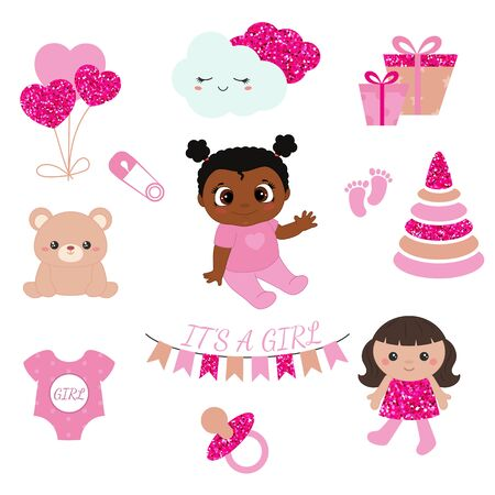 Baby girl shower design icons. Vector design templates with pink glitters for greeting gift cards, flyers, posters etc. 向量圖像