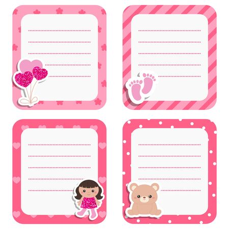 Set of cute cards with baby girl icons. Vector design templates with pink glitters for greeting gift cards, flyers, posters etc. Ilustrace