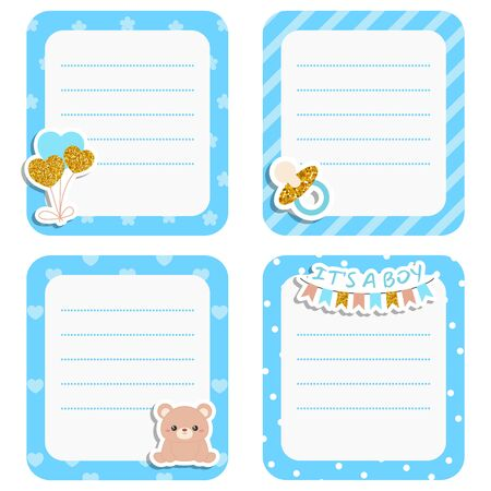 Set of cute cards with baby boy icons. Vector design templates with gold glitters for greeting gift cards, flyers, posters etc.