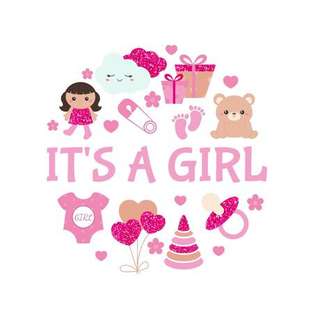 Baby girl shower invitation card with simple baby symbols. Vector design templates with pink glitters for greeting gift cards, flyers etc. 向量圖像