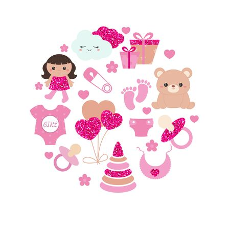 Baby girl shower invitation card with simple baby symbols. Vector design templates with pink glitters for greeting gift cards, flyers etc. 版權商用圖片 - 132769555