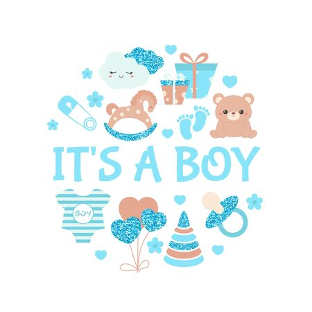 Baby boy shower invitation card with simple baby symbols. Vector design templates with blue glitters for greeting gift cards, flyers etc.