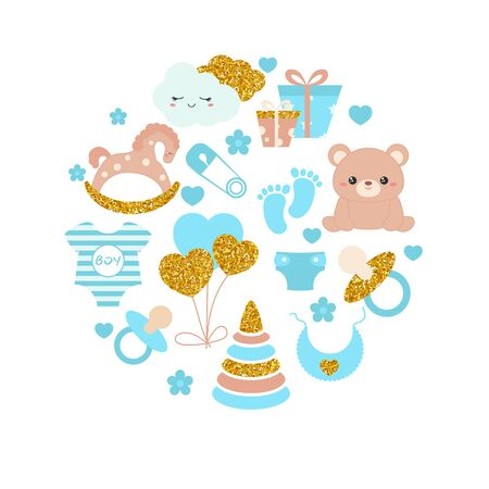 Baby boy shower invitation card with simple baby symbols. Vector design templates with gold glitters for greeting gift cards, flyers etc. 版權商用圖片 - 132770922