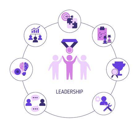 Leadership banner concept with icons. Vector illustration. Reklamní fotografie - 133827960