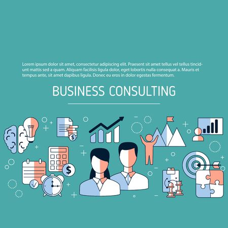 Business consulting concept with icons. Vector background.