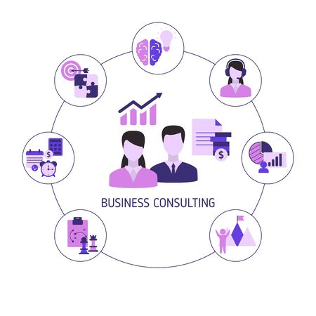 Business consulting concept with icons. Vector illustration. Reklamní fotografie - 133827961