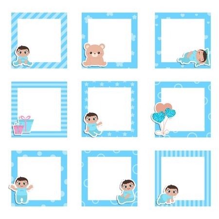 Set of cute colorful photo frame with little baby boy. Vector design templates for greeting gift cards, flyers, posters etc.