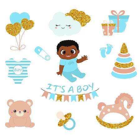Baby boy shower design icons. Vector design templates with gold glitters for greeting gift cards, flyers, posters etc.