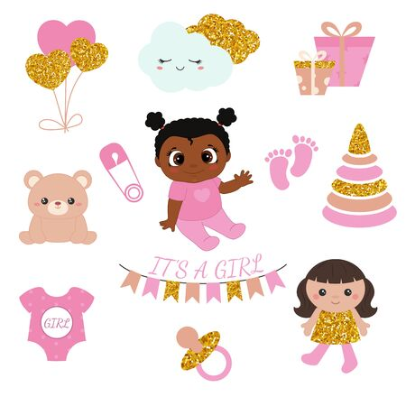 Baby girl shower design icons. Vector design templates with gold glitters for greeting gift cards, flyers, posters etc.