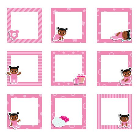 Set of cute colorful photo frame with little baby girl. Vector design templates for greeting gift cards, flyers, posters etc.