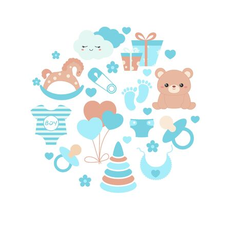 Baby boy shower invitation card with simple baby symbols. Vector design templates for greeting gift cards, flyers etc.
