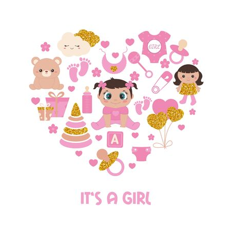 Baby shower invitation card. Simple baby symbols with gold glitters in the shape of heart. Its a girl.