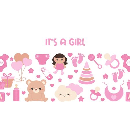 Background with simple baby symbols. Vector design templates for greeting gift cards, flyers etc. Its a girl. Ilustrace