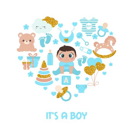 Baby shower invitation card. Simple baby symbols with gold glitters in the shape of heart. Its a boy.