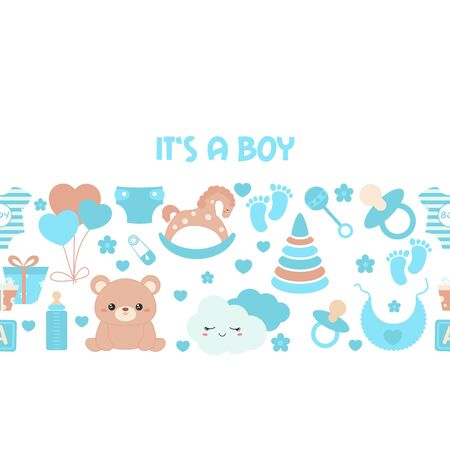 Background with simple baby symbols. Vector design templates for greeting gift cards, flyers etc. Its a boy.
