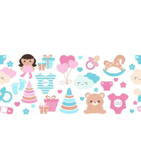 Background with simple baby symbols. Vector design templates for greeting gift cards, flyers etc. Ilustrace