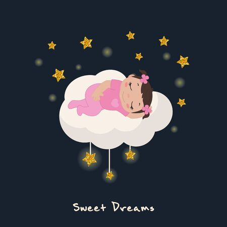 Vector illustration of cute baby girl sleeping on a cloud. Stars with gold glitters. Ilustrace