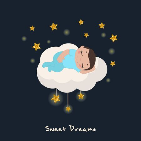 Vector illustration of cute baby boy sleeping on a cloud. Stars with gold glitters. Ilustrace