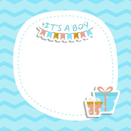 Baby boy shower invitation card with gift box present. Its a boy. Vector background. Ilustrace