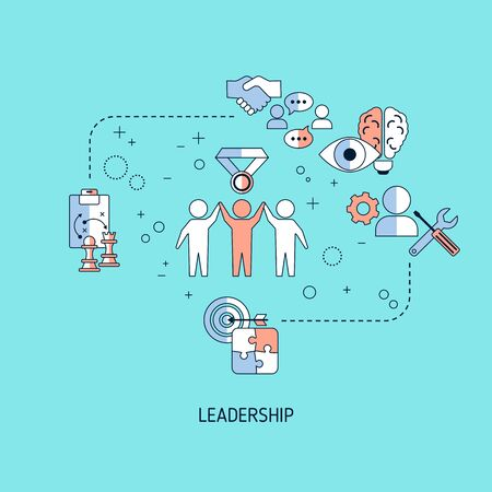 Leadership banner concept with icons. Vector illustration.