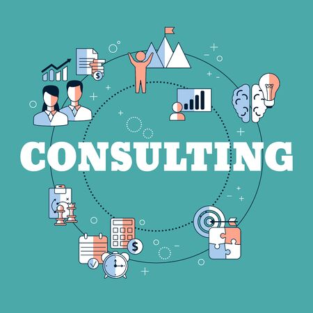 Business consulting concept with icons. Vector illustration. Reklamní fotografie - 134691983
