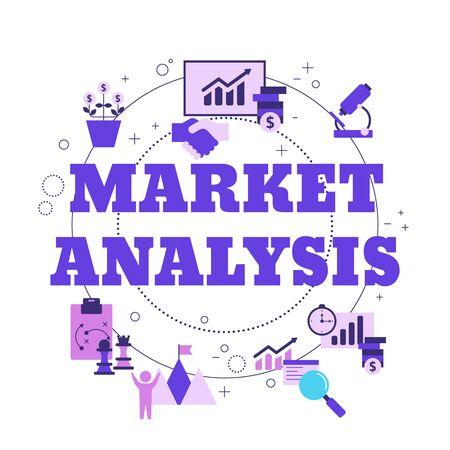 Market analysis concept with icons. Marketing technology. Vector illustration. Reklamní fotografie - 134693650