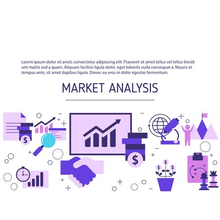 Market analysis concept with icons. Marketing technology. Vector background.