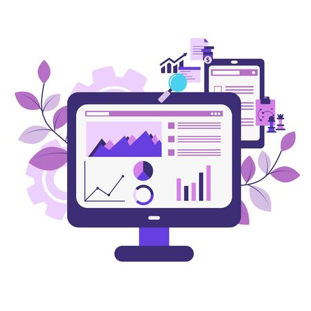 Market analysis concept with icons. Marketing technology. Vector illustration. Reklamní fotografie - 134693651