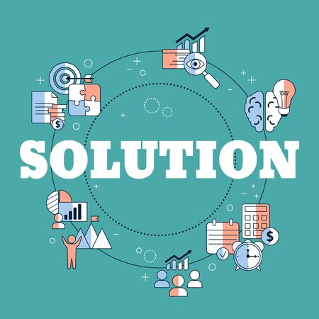 Business solutions concept with icons. Solution and success, strategy vector illustration Ilustrace