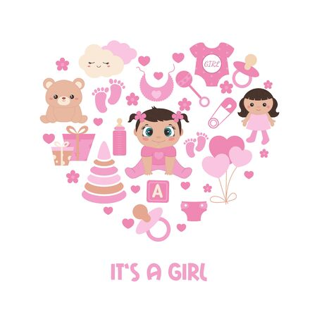 Baby shower invitation card. Simple baby symbols in the shape of heart. Its a girl. Ilustrace