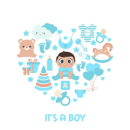 Baby shower invitation card. Simple baby symbols in the shape of heart. Its a boy.