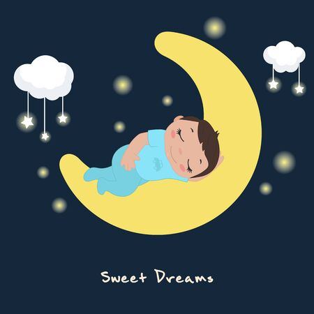 Vector illustration of cute baby boy sleeping on the moon. Illustration