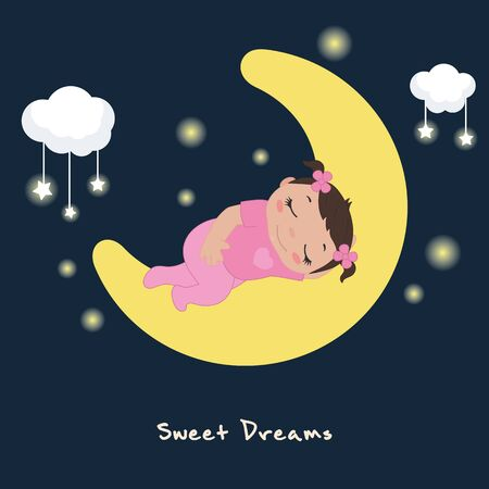 Vector illustration of cute baby girl sleeping on the moon.