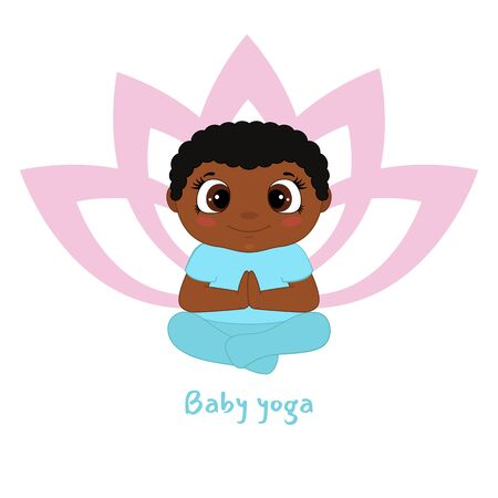 Baby yoga design concept with little boy in yoga position.