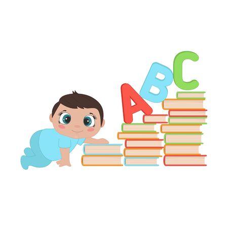Illustration d'un petit garçon rampant dans les escaliers des livres. Développement de la petite enfance du bébé.