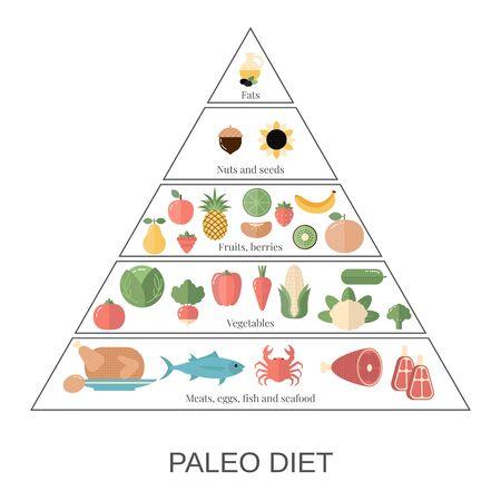 Infografica sugli alimenti. Piramide della dieta paleo con icone di cibo. Vettoriali