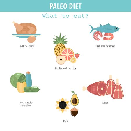 Foods infographics. Paleo Diet concept with food icons.